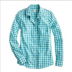 J. Crew Blue Gingham Perfect Shirt